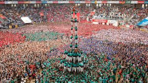 Castellers de Vilafranca form a human tower called