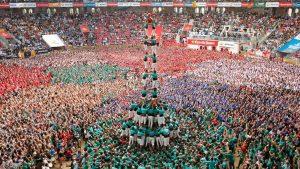 Castellers de Vilafranca form a human tower called