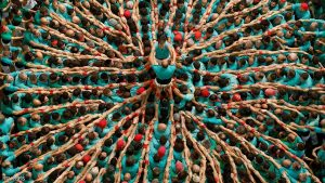 Castellers de Vilafranca start to form a human tower called